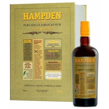 Coffret Rhum Jamaique Hampden 8 Ans 46% 70cl + 2 Verres